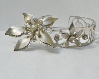 Vtg. Silver Floral Brooch/Pendant and Bracelet Cuff- Rhinestones- Scroll- Poinsettia
