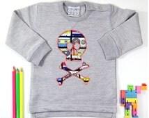 Baby Sweatshirt   Sweater   Jumper   Grey   Skull and Crossbones   Hipster   Toddler   Boys' and Girls'   Unisex   Retro Cassette Print  