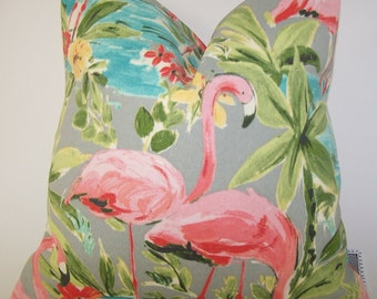 Pink Flamingo Outdoor Pillow Cover -  Grey PILLOW - Various Sizes - Marine - Nautical - Seashore - Coral - Bird - 20x20,18x18,22x22
