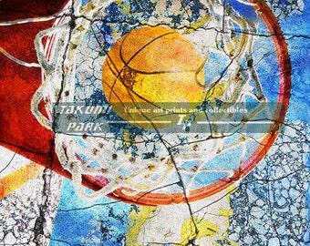 Basketball Home Decor, Modern Sports Photo Art Print, Unique Basketball Wall Artwork, Colorful Basketball Poster Art, Sports Decor Art