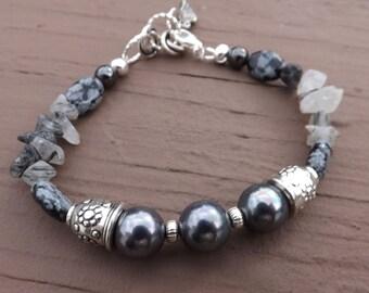 Black Akoya Pearl, Quartz, Snowflake Obsidian, Hematite and Sterling Silver Bracelet