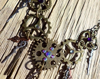 Steampunk Cogs and Gears Necklace. Gear Necklace. Elegant Steampunk Necklace.