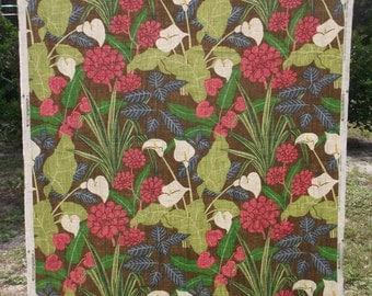 Retro Robert Allen Tropical Jungle Linen Decorator Fabric 56x36