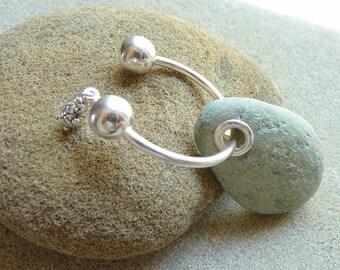 Beach stone key ring