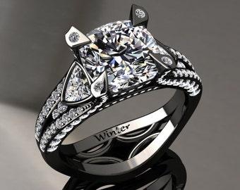 Moissanite Engagement Ring Moissanite Ring 14k or 18k Black Gold Matching Wedding Band Available W31MOISBK