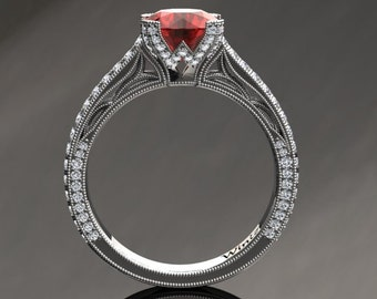 Ruby Engagement Ring Ruby Ring 14k or 18k White Gold Matching Wedding Band Available SW9RUBYW