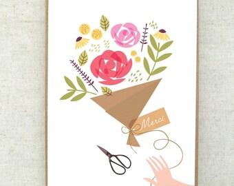 Merci card- greeting card- merci- bouquet- carte merci