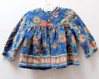 Vintage Clothkits handmade corduroy baby dress in paisley print, 6-12 months