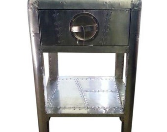 Aviator Riveted Metal Side Table W/ Drawer