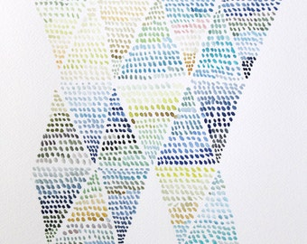 "11"" x 15"" Triangles & Dots Study - Original Painting"
