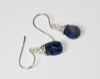 Dark Blue Sapphire Earrings on Handmade Sterling Silver Earwires -  Birthstone for September