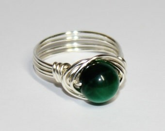 Handmade  Green Tigers Eye Solitaire Ring