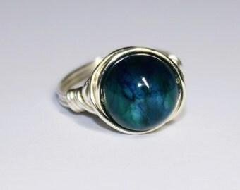 Silver Plated Wire Wrapped  Mottled Blue/Green Coloured Jade Solitaire Ring
