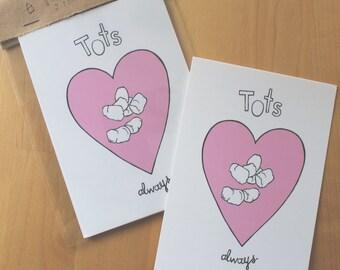 Tater Tot Love - potato postcard pack / 2 cards