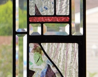 Stained Glass Panel Original Abstract Black Pink Purple Green Blue White Clear Home Decor