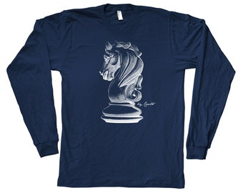 Chess Knight Long Sleeve Graphic Tee Hand Screen Print American Apparel Crew Neck