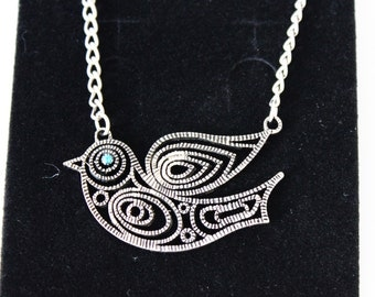 Bird Necklace Silver Charm Necklace Pendant Chain Necklace Gift for her