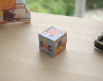 dollhouse halloween building blocks x 1  vintage themed 12th scale miniature
