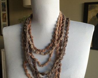 CARAMEL LATTE ,  Crocheted Necklace, Bracelet 17