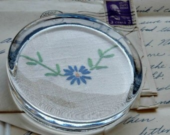 Paperweight - Vintage Embroidered Blue Daisy