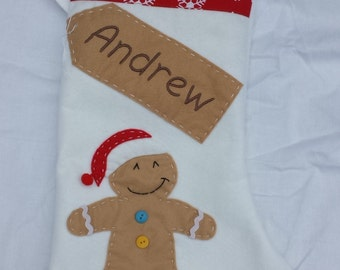 Personalised Christmas Stocking - Handmade -  Gingerbread Man