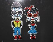 Day of the dead Boy # 112 and Girl #113 vinyl car sticker