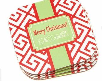 Personalized Coasters  -Monogram A Coaster Set- Monogrammed Holiday Coasters-Chrtistmas Maze Coasters