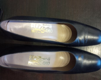 Vintage Salvatore Ferregamo Pumps Ferregamo Heels Leather Made in Italy 7 1/2 B