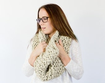 giant XXL chunky knit wrap    the NOWATA    shown in oatmeal