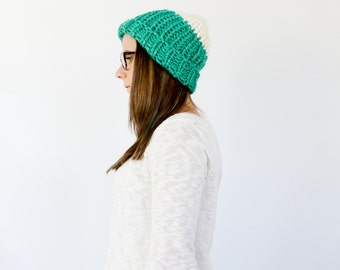 two tone slouchy knit ribbed beanie || the CANADIAN || shown in teal & cream