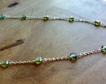 Aqua Green Crystal Silver Necklace