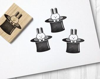 magic hat + rabbit rubber stamp- FREE SHIPPING WORLDWIDE*