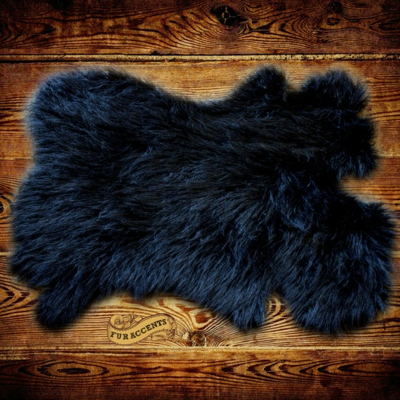Black Shag Rug Faux Fur Pelt Rug Bear Skin By FurAccents