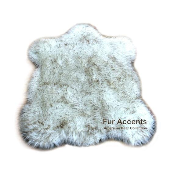 Alaskan Bear Accent Rug / Chubby Sheepskin Pelt / By