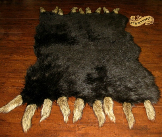 Bear Rug Faux Fur Accent / OOAK Exotic Brown Bear By