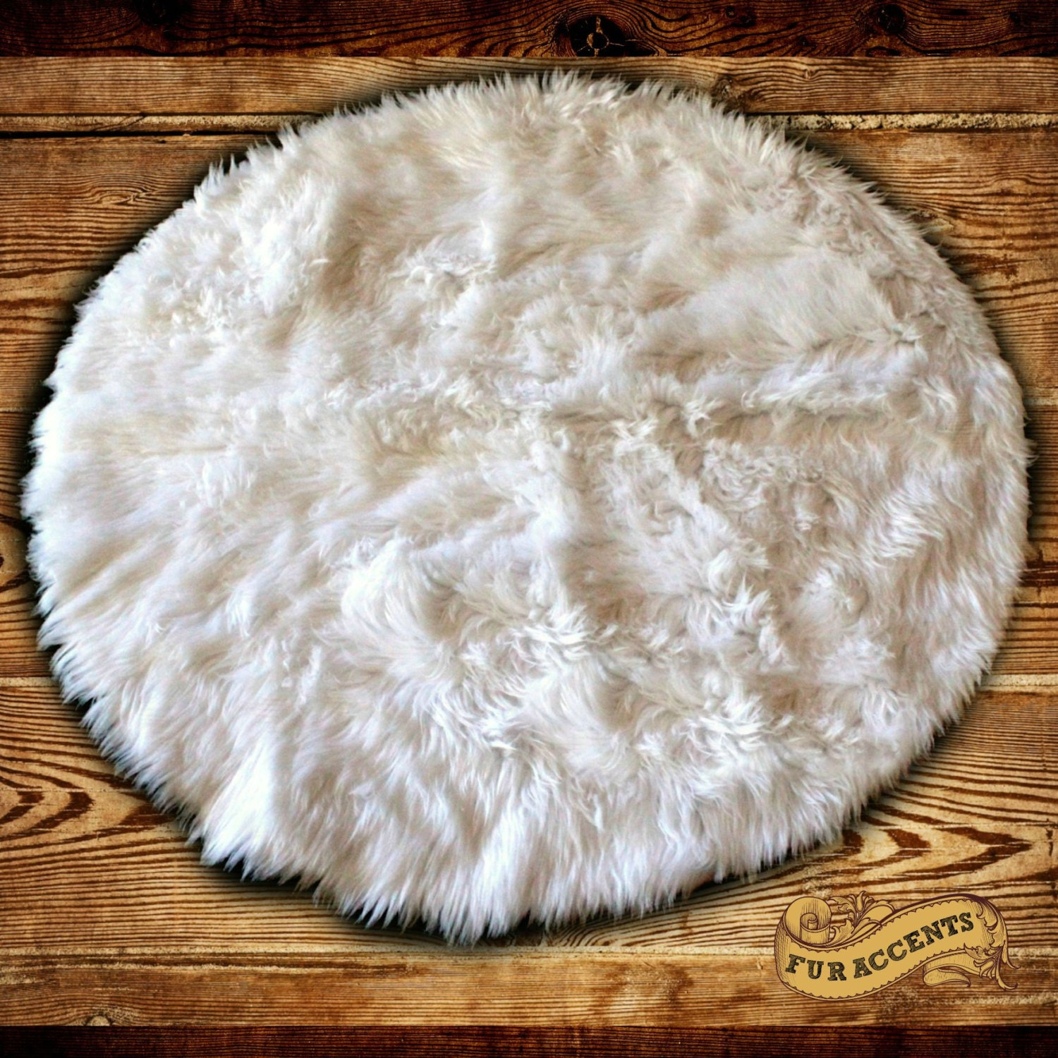 Shag Round Sheepskin Faux Fur Area Rug / Thick White By