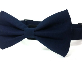 Navy blue dog bow tie collar set, blue cat bow tie collar set - adjustable with bell (optional)