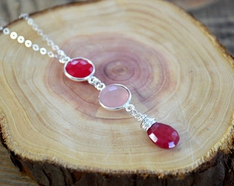 Colors of Love Necklace- Sweetheart Necklace- Valentine's Day Necklace- Hot Pink Chalcedony, Rose Quartz, and Dyed Ruby Necklace