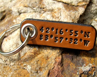 Latitude Longitude Leather Keychain Custom GPS Coordinates - Personalized - 3rd Anniversary Wedding Groomsmen Birthday Gift - Mens Womens