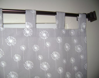 Tab Top White/Grey Dandelion Curtain Panels, Tab Top Window Treatment, 2 Panels