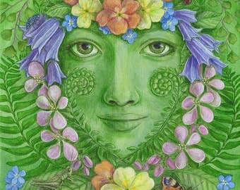 May Queen fine art limited edition giclee print goddess earth spirit floral green