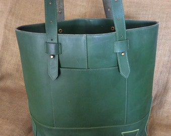 Large vintage genuine green leather shopping tote bag carry all