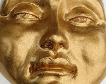 Tranquil Golden Zen Buddha Wall Sculpture, Cast Stone Spirit Decor