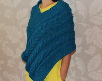 knit shrug, knitted shrug, knit poncho, poncho