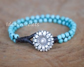 Turquoise Gemstone Silver Womens Bracelet, Turquoise Mother Daughter Baby Girl Jewelry, Silver Flower Charm Braided Birthstone Bracelet