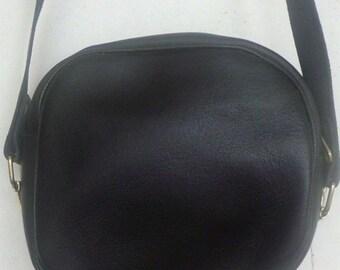 Black leather cross body purse