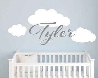 Personalized name with clouds vinyl wall decal words decals kids children playroom bedroom sticker girls boys nursery quotes names