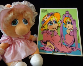 Muppets Miss Piggy Muppet Babies plush and puzzle Kermit Jim Henson