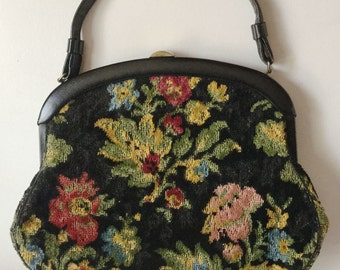 1950s Crown LEWIS Large Floral TAPESTRY Handbag PURSE Black / Multi Vintage