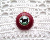 Vintage Cherry Amber Wine Bakelite Scotty Dog Intaglio Charm